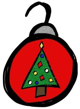 Sketchy Christmas Doodles clip art (BW and full-color PNG images)