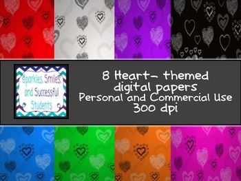 Digital Papers: Sketchy Heart Backgrounds