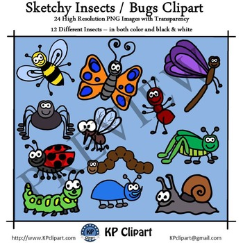 Sketchy Insects and Bugs Clipart