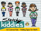 Sketchy Kiddies- Color Doodle Kiddies holding Math Signs