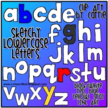 Sketchy Lowercase Letters Doodles (BW, full-color, and lin