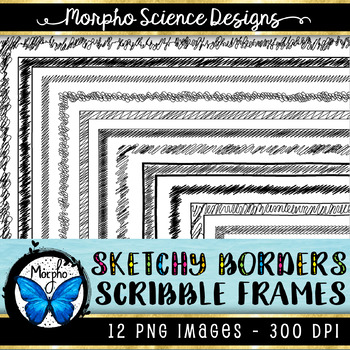 Sketchy Page Borders (Commercial Use Frames) - Scribble Worksheet Borders