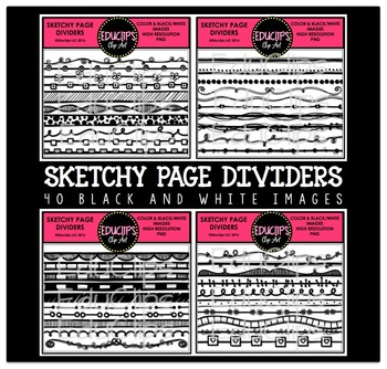 Sketchy Page Dividers Clip Art Bundle {Educlips Clipart}