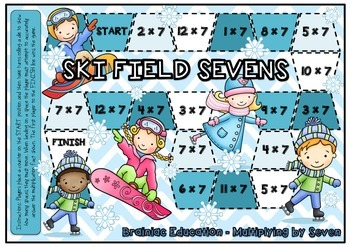 Ski Field Sevens Multiplication Board Game x7 Facts