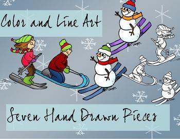 Ski Kids Winter Clip Art - Color and Line Art 7 Piece Set