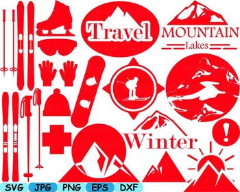 Ski Monogram clip art svg snow ice snowboard logo items retro vintage sport 122s