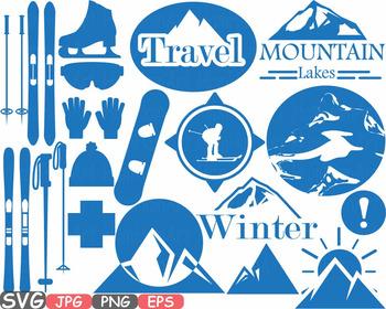 Ski Snowboard Logo clipart Mountain top Equipment Extreme Gear snow board -600SB