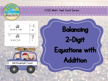 Ski Trip Balancing 2-Digit Equations Math Center
