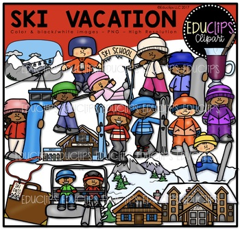 Ski Vacation Clip Art Bundle {Educlips Clipart}