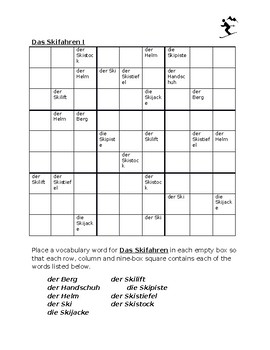 Skifahren (Skiing in German) Sudoku