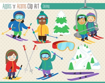 Skiing Clip Art - color and outlines