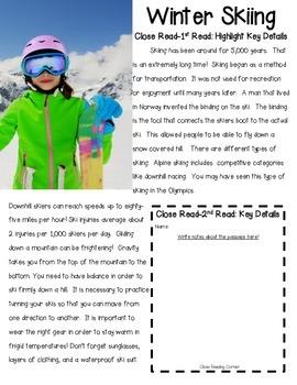 Skiing Close Reading Sample