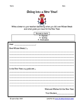 Skiing into a New Year Writing Activity