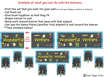 Skill Banners (Reading, Writing, Math, Science) Aqua and Chalkboard Theme
