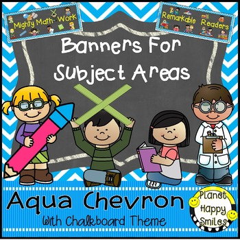 Skill Banners (Reading, Writing, Math, Science) Aqua and C