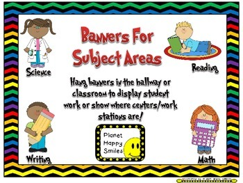 Skill Banners (Reading, Writing, Math, Science) ~ Chevron Rainbow and black
