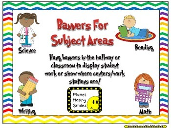Skill Banners (Reading, Writing, Math, Science) ~ Chevron Rainbow and white