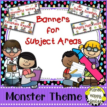 Skill Banners (Reading, Writing, Math, Science) Monster Theme