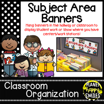 Skill Banners (Reading, Writing, Math, Science) ~ Polka Dot B/W Print