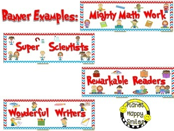 Skill Banners (Reading, Writing, Math, Science) ~ Red, White & Blue Chevron