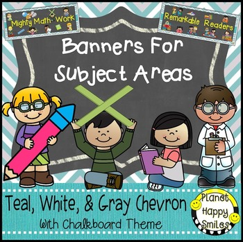 Skill Banners (Reading, Writing, Math, Science) Teal and Chalkboard Theme
