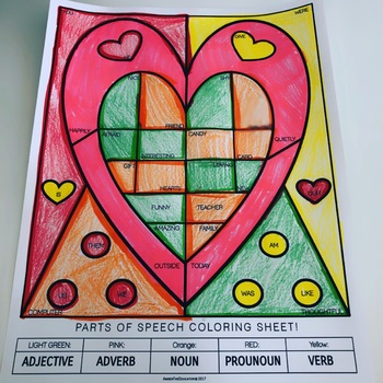 Skill-Based Coloring: Valentine's Parts of Speech!