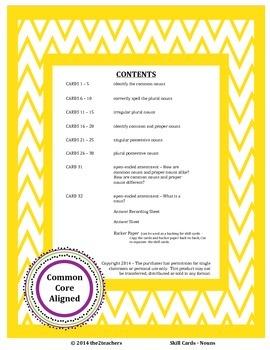 Task Cards:  Nouns - Common Core