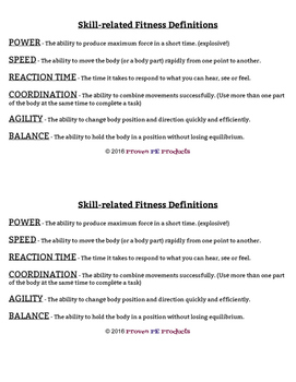 Skill-Related Fitness Concepts Game for P.E.