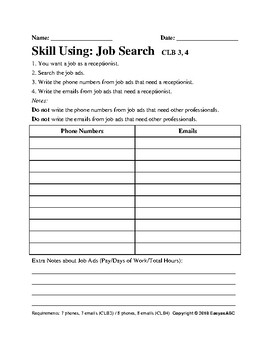 Skill Using Reading Assessment - Theme: Job Search for CLB3, CLB4