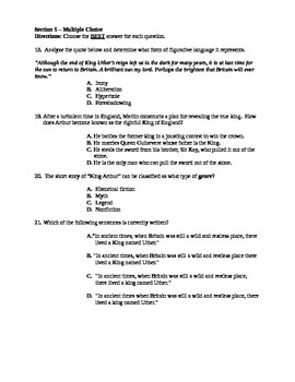 "Skill and comprehension assessment for ""King Arthur"""
