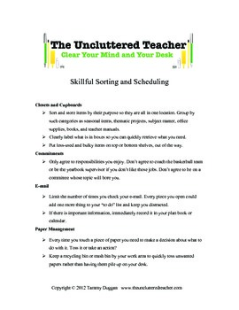 Skillful Sorting and Scheduling Tips from The Uncluttered Teacher