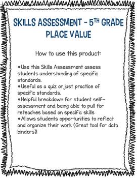 Skills Assessment - Place Value