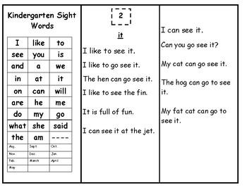 Skills Book 3-Kindergarten Sight Words --Continued