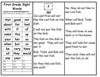Skills Book 5---1st Grade Sight Words---Continued