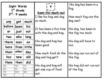 Skills Book 7--1st Grade Sight Words-- Cont.