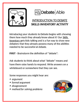 Skills Inventory: An Introduction to Debate Activity