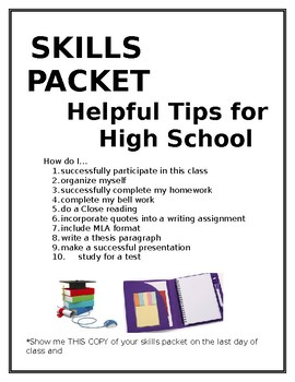 Skills Packet for High School Student