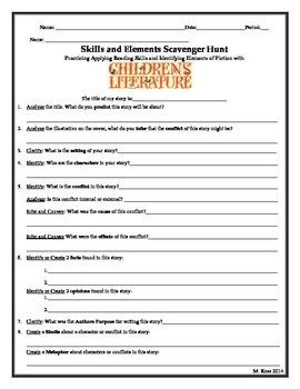 Plot Diagramming and Skill Sharpening (Childrens Literature) Activity