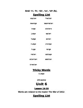 Skills Strand Unit 6 Grade 2 Spelling Lists and Worksheets