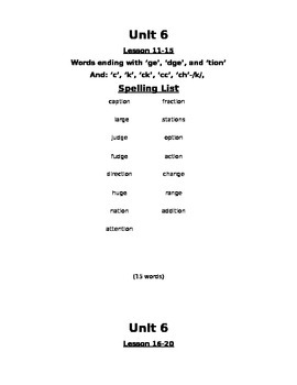 Skills Strand Unit 6 Grade 2 Spelling Lists and Worksheets Modified