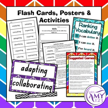 Skills and Jobs Vocabulary Pack- Word Lists, Flash Cards & Activities