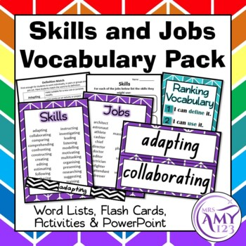 Skills and Jobs Vocabulary Pack- Word Lists, Flash Cards &
