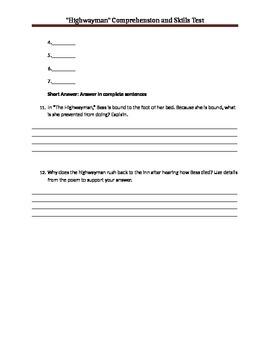 "Skills and comprehension test for ""Highwayman"" packet"