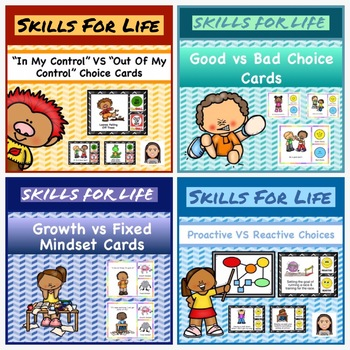 Skills for Life Choice Cards Bundle:  Growth Mindset,  Being Proactive, Control