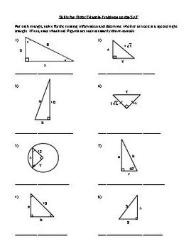Skills for Problems Involving Special and Other Right Triangles on the SAT