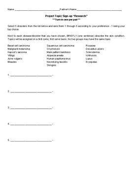 Skin Disease Research Project - Anatomy/Biology - Teacher Guide Included