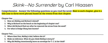 Skink--No Surrender by Carl Hiaasen Reading Comprehension Questions