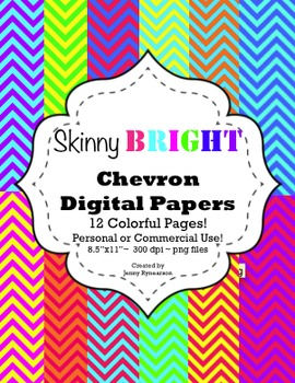 Skinny BRIGHT Chevron Digital Papers! Personal & Commercia