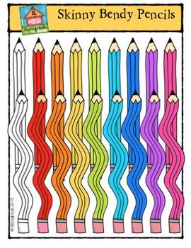 Skinny Bendy Pencils {P4 Clips Trioriginals Digital Clip Art}
