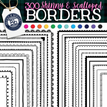 Skinny Borders Color | 300 Scalloped and Skinny Black & Bright clipart bundle